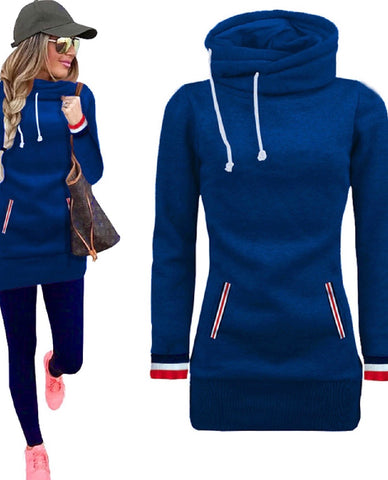 High Funnel Neck Pullover-Blue