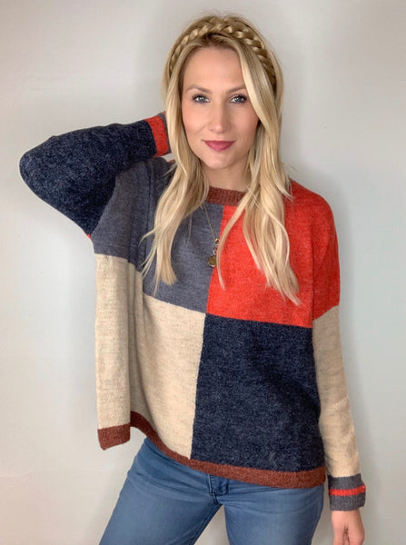 Large Checkerboard Pattern Sweater