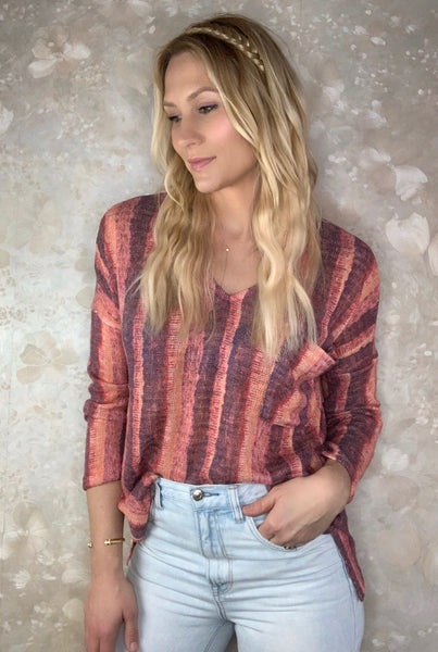 Watercolor Stripe Top with Pocket