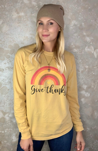 """Give Thanks"" Long Sleeve Graphic Tee"