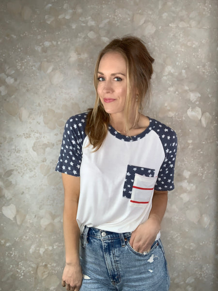 Red, White and Blue Pocket Tee