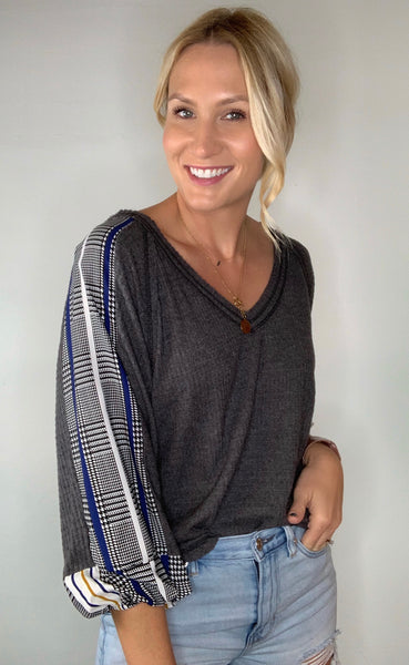 Waffle Knit Top with Plaid Detail