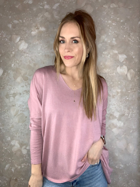 Up To The Hype  V-Neck Sweater - Pink