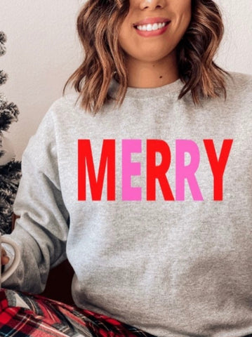 Holiday Graphic Sweatshirt - Merry