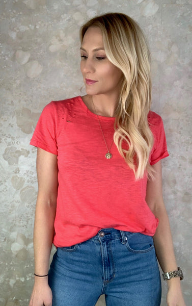 Distressed Basic Tee - Coral
