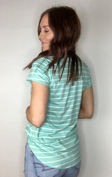 """Mint"" to Be Striped Essential Tee"