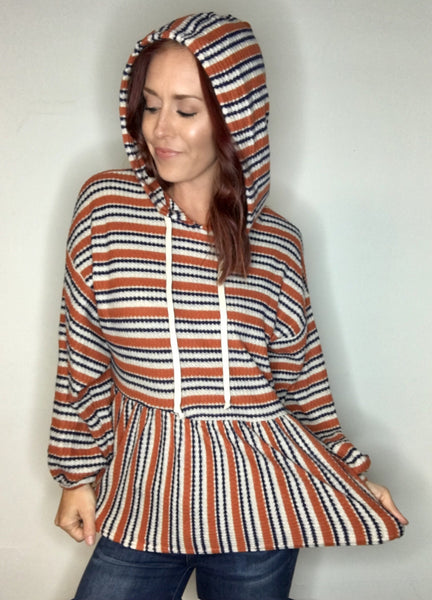Textured Striped Dropped Waist Hooded Top