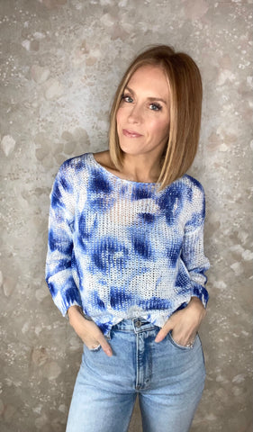 Marble Print Open Weave Sweater