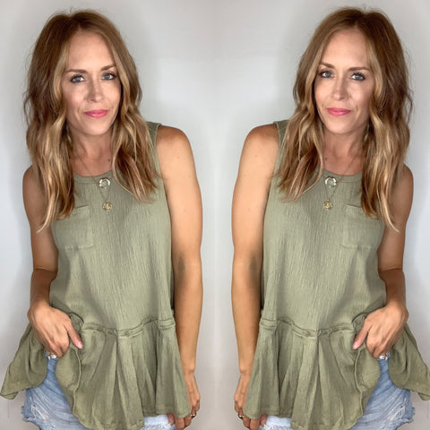 Dropped Waist Sleeveless Top