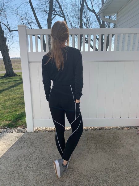 Black Leggings with Contrast Stitching
