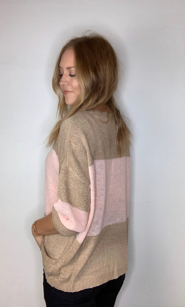 Lightweight Knit Color Block Sweater