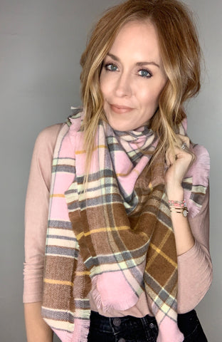 Plaid Scarf - Pink