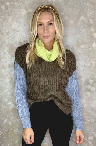 Colorblock Funnel Neck Sweater