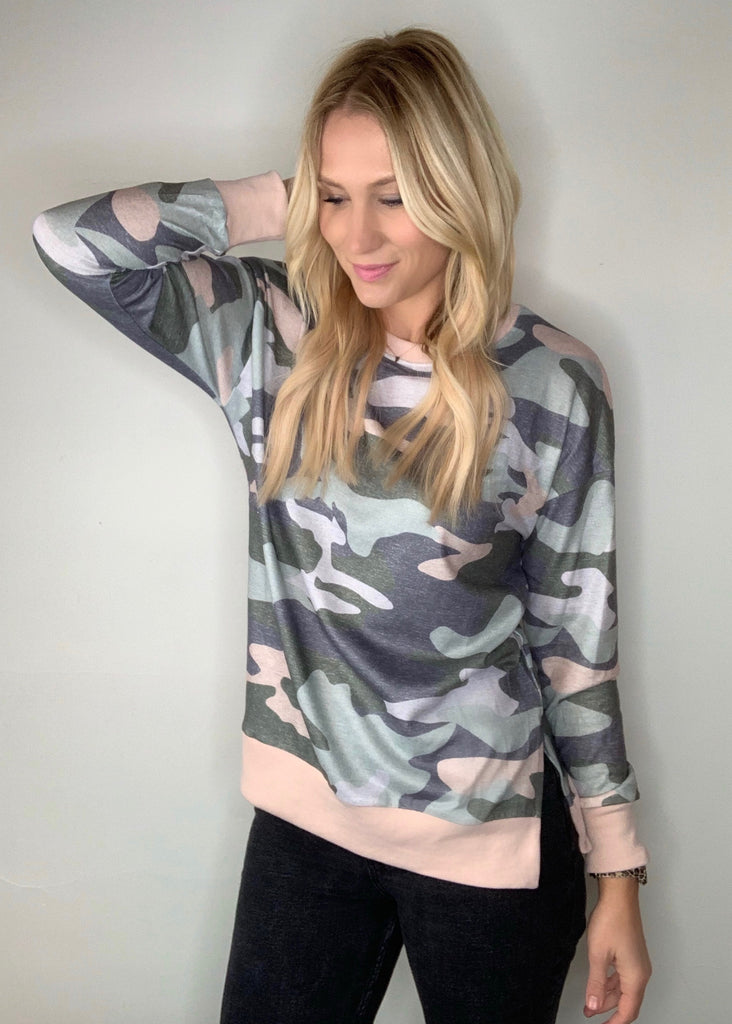 Camo Split Side Top