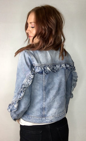 Ruffle Detail Denim Jacket