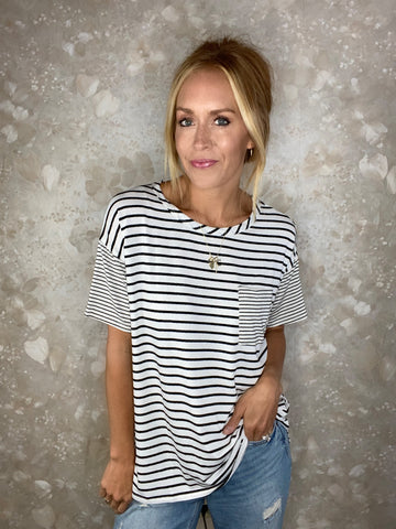 Multi Striped Pocket Tee