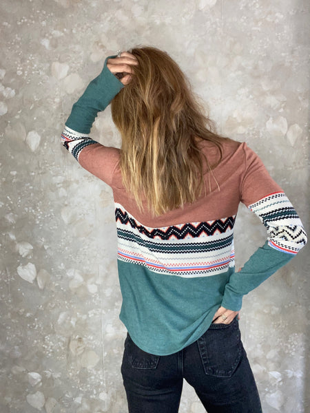 Color Block Patterned Top
