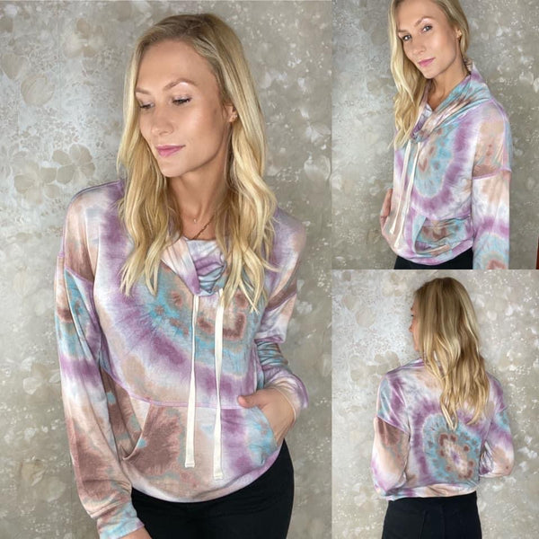 Tie Dye Funnel Neck Top