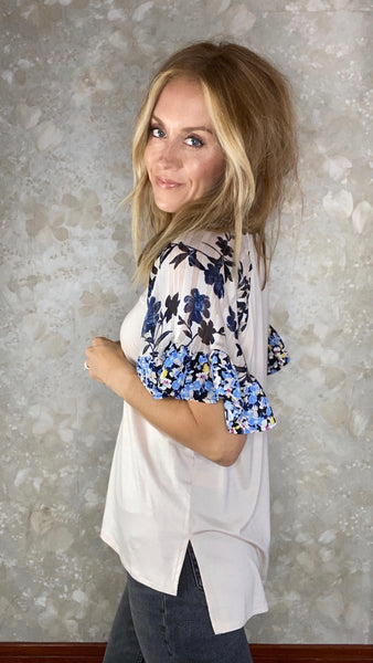 Flutter Sleeve Top with Floral Detail