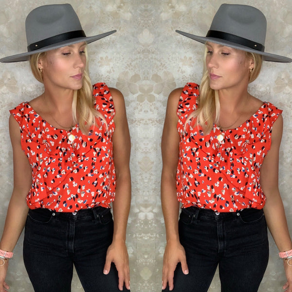 Abstract Animal Print Ruffle Top