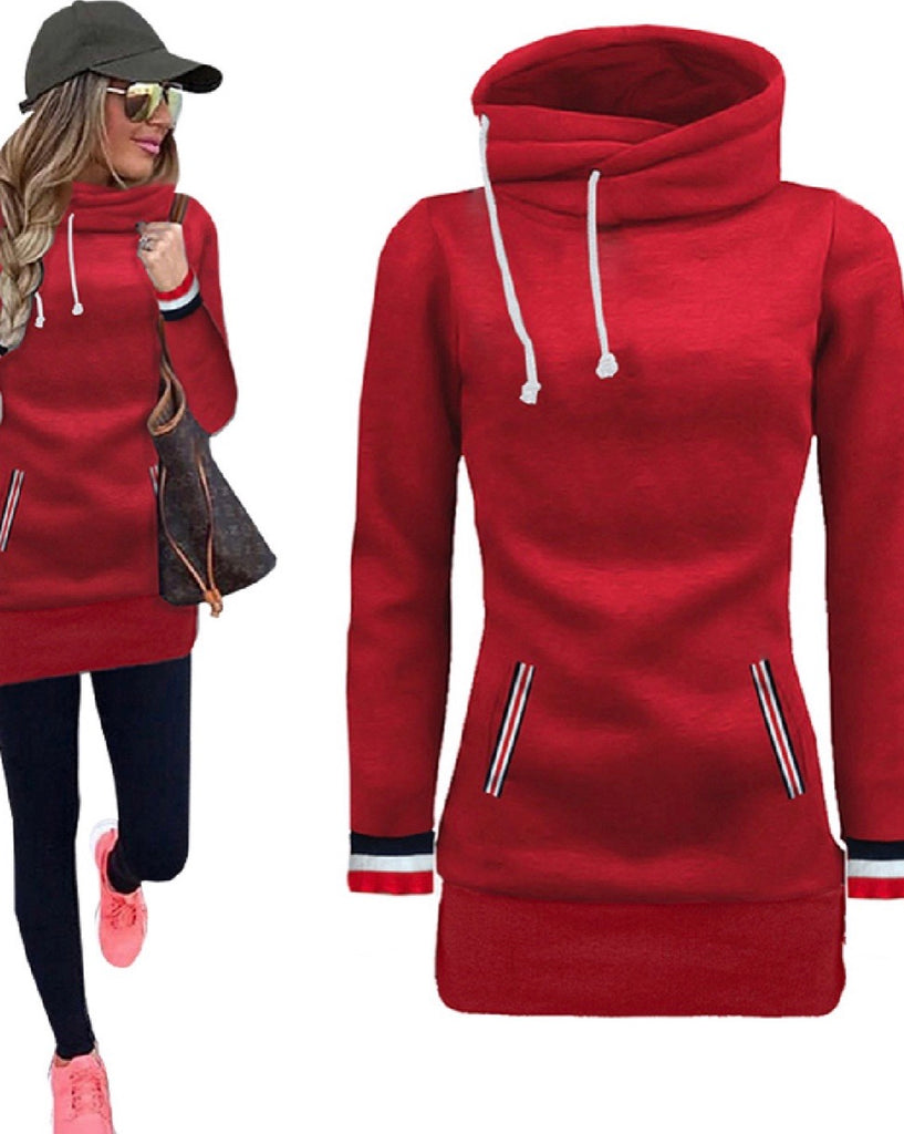 High Funnel Neck Pullover-Red