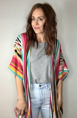 Color Pop Striped Kimono