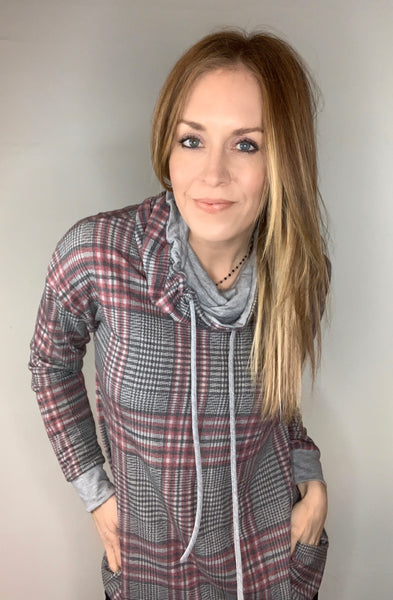 Plaid Funnel Neck Tunic