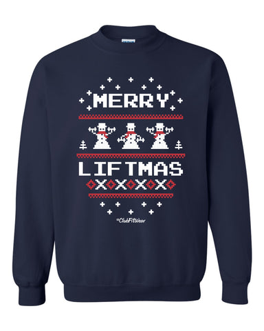 Ugly Christmas Sweatshirt - Merry Liftmas (Snowmen)