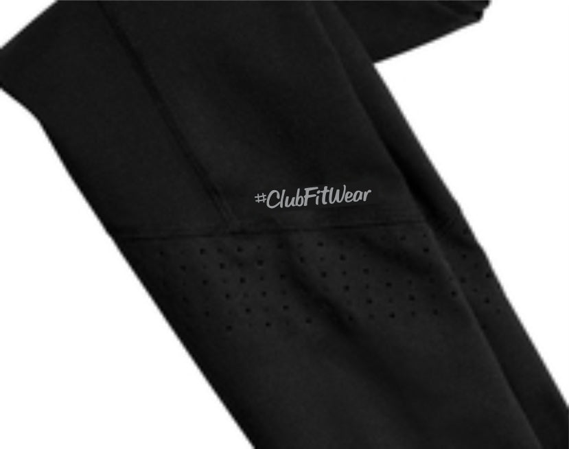 ClubFitWear Logo-ed Stay-Cool Wicking Perforated Stretch Leggings