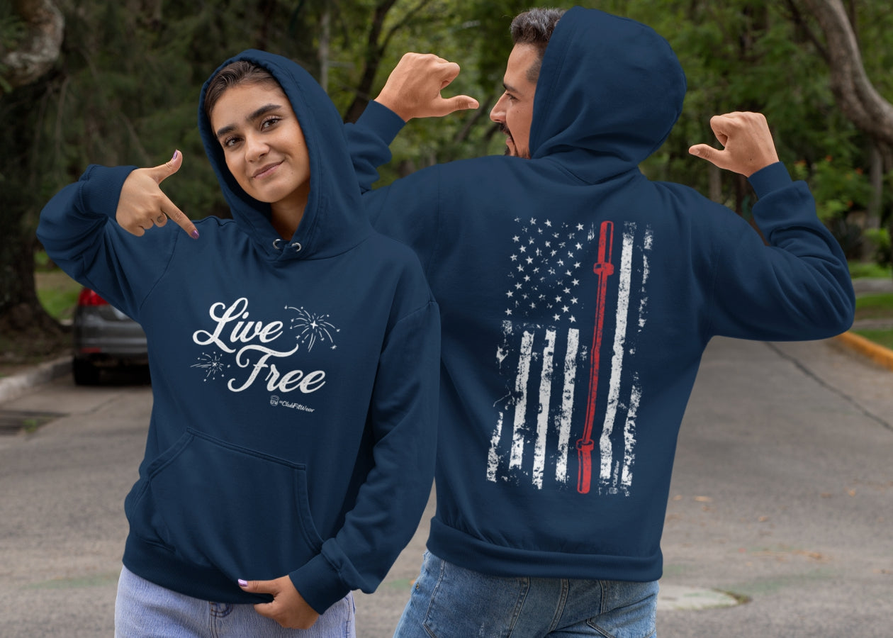 Live Free Barbell Flag Hoodie