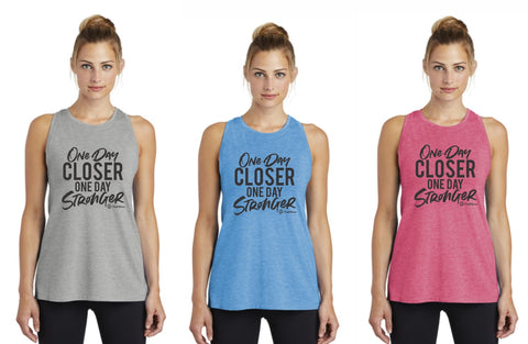 One Day Closer One Day Stronger - Premium Racerback Muscle Tank