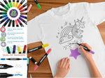 Fabric Marker & Bonus My Unicorn Youth Coloring Tee