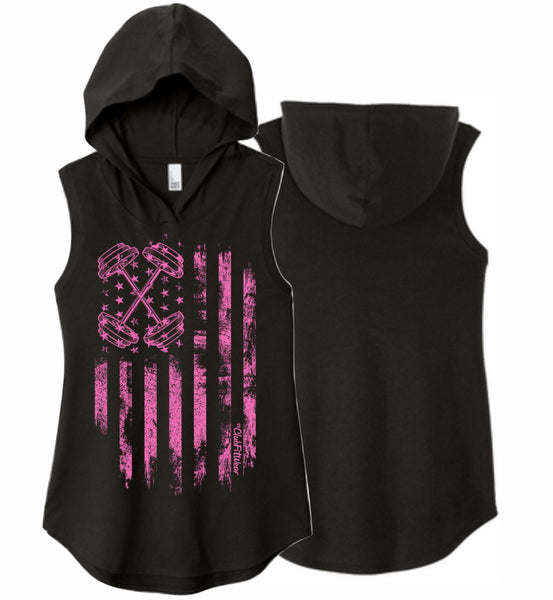 Pink Barbell Flag Sleeveless Hoodie