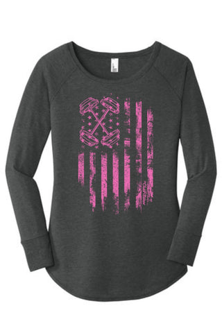 Pink Barbell Flag - Long Sleeve Tunic