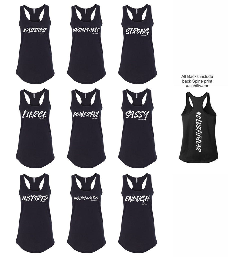 One Word Collection Racerback Tanks