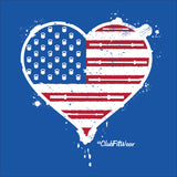 USA Loves Lifting - Heart Shaped Flag