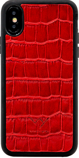 Cover per Iphone X in vera pelle di vitello con stampa effetto coccodrillo color rosso.