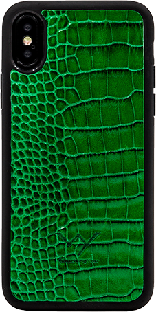 Cover per Iphone X in vera pelle di vitello con stampa effetto coccodrillo color verde.