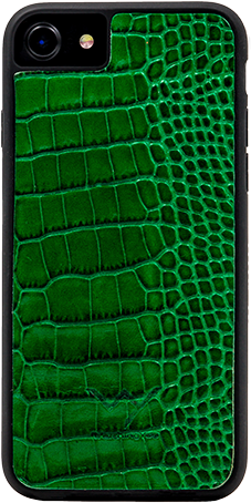 Cover per Iphone 7-8 in vera pelle di vitello con stampa effetto coccodrillo color verde.