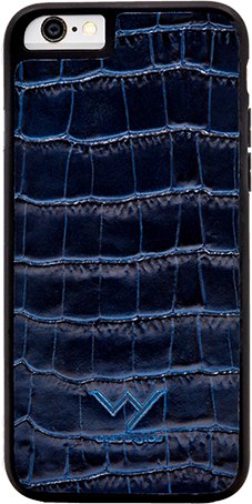 Cover per Iphone 6/6s in vera pelle di vitello con stampa effetto coccodrillo color blu.