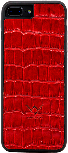 Cover per Iphone 7 8 Plus in vera pelle di vitello con stampa effetto coccodrillo color rosso.