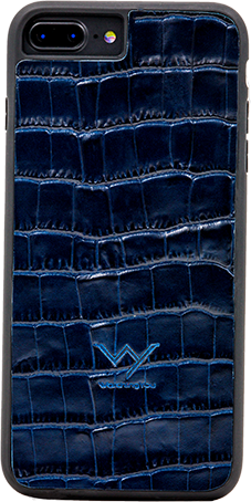 Cover per Iphone 7 8 Plus in vera pelle di vitello con stampa effetto coccodrillo color blu.