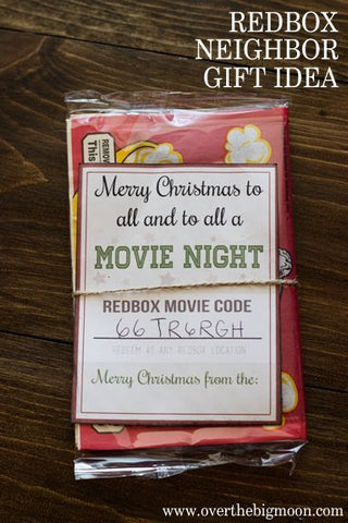 Neighbor gift using a bag of popcorn and making tag on front with cardstock with Free movie rental code