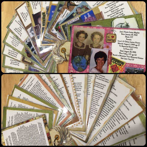 Ancestor flashcards with mini bio and photos of each person