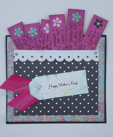 Happy Mother's Day card with little slips of paper with words of admiration for mom.