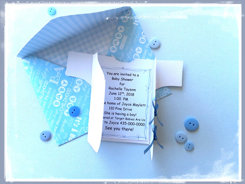 Baby boy or girl T-shirt invitation or baby card