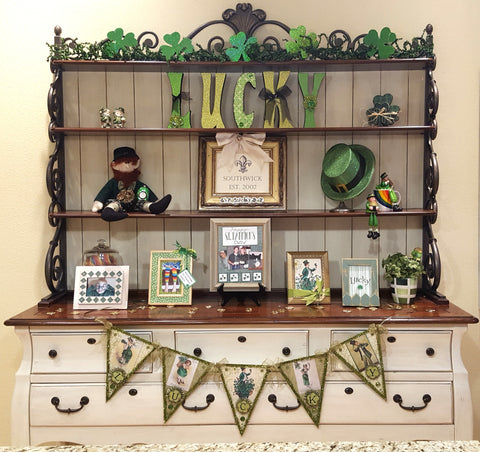St, Patrick Day decorated hutch