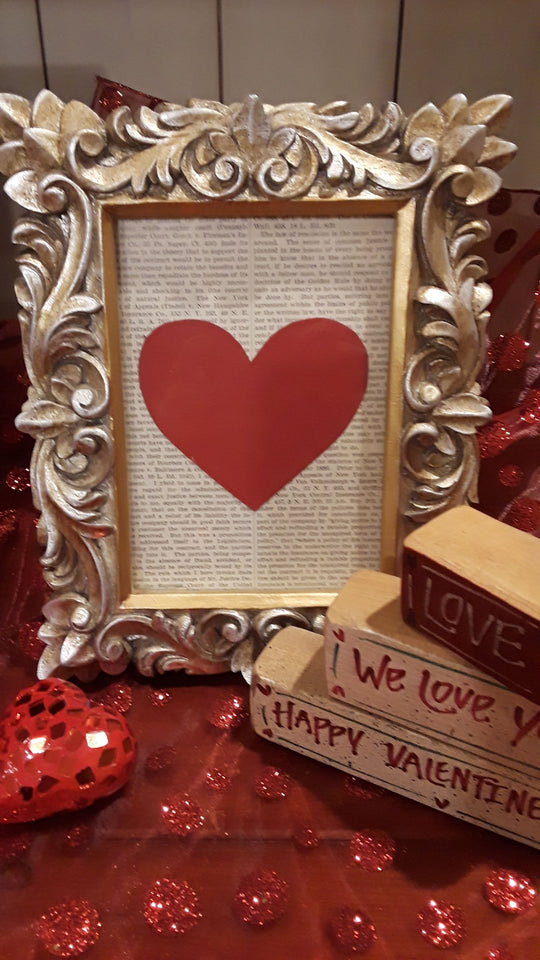 Paper cutout  Valentine heart framed.