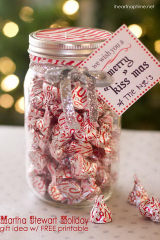 Merry Kiss-Mas mason Jar filled with chocolate kisses for neighbors and friends.