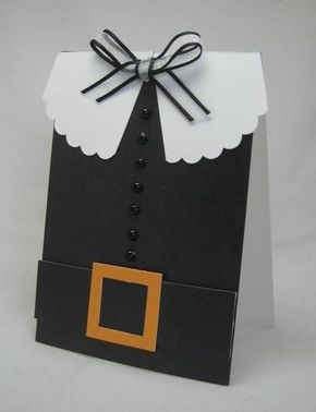 Pilgrim card for Thanksgiving made with cardstock